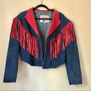 Vtg Diamond and Denim Leather Fringe Jacket